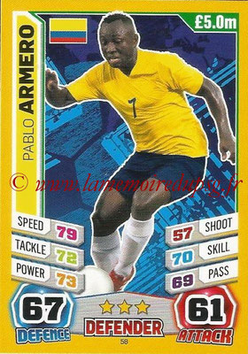 Topps Match Attax England 2014 - N° 058 - Pablo ARMERO (Colombie)