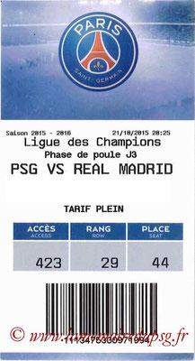 Tickets  PSG-Real Madrid  2015-16