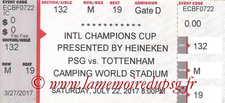 Ticket  PSG-Tottenham Hotspur  2017-18