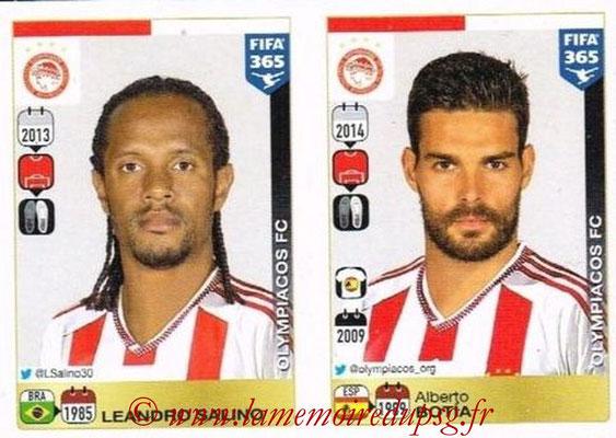 2015-16 - Panini FIFA 365 Stickers - N° 524-525 - Leandro SALINO + Alberto BOTIA (Olympiacos FC)