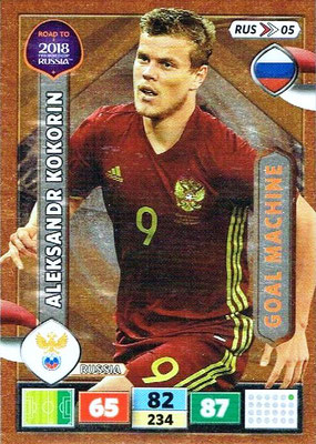 2018 - Panini Road to FIFA World Cup Russia Adrenalyn XL - N° RUS05 - Aleksandr KOKORIN (Russie) (Goal Machine)