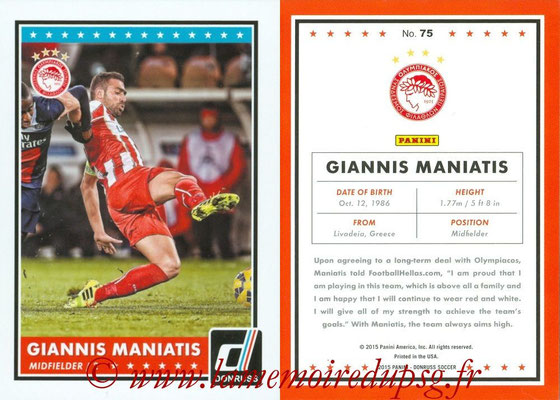 2015 - Panini Donruss Soccer - N° 075 - Giannis MANIATIS (Olympiacos FC)
