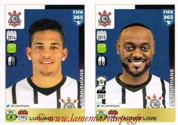 2015-16 - Panini FIFA 365 Stickers - N° 189-190 - LUCIANO + Vagner LOVE (SC Corinthians)