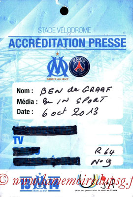 Ticket Presse  Marseille-PSG  2013-14