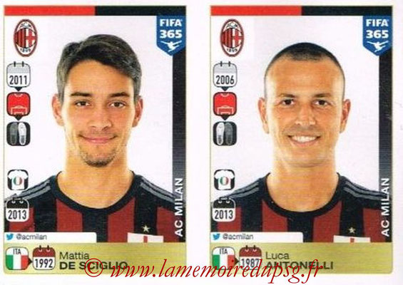 2015-16 - Panini FIFA 365 Stickers - N° 588-589 - Mattia DE SCIGLIO + Luca ANTONELLI (Milan AC)