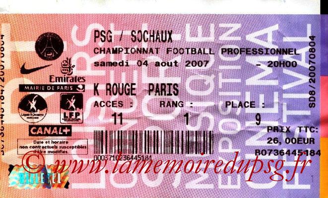 Tickets  PSG-Sochaux  2007-08