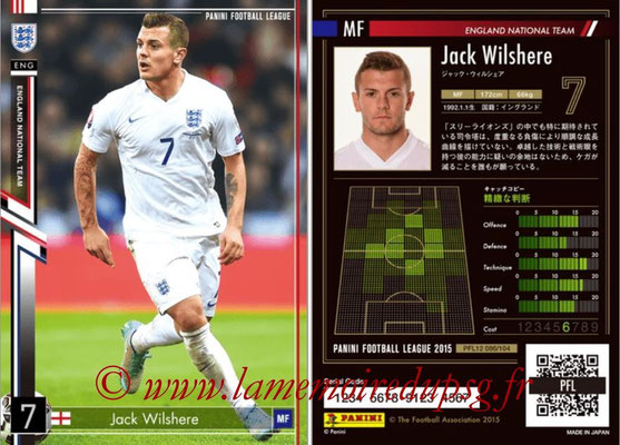 Panini Football League 2015 - PFL12 - N° 086 - Jack WILSHERE (Angleterre)