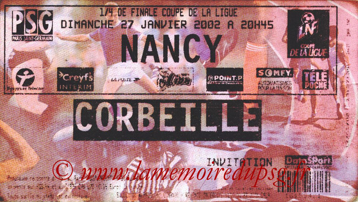 Tickets  PSG-Nancy  2001-02