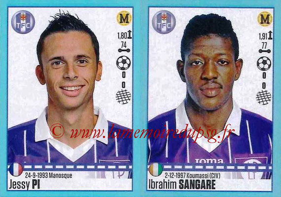 2016-17 - Panini Ligue 1 Stickers - N° 834 + 835 - Jessy PI + Ibrahim SANGARE (Toulouse)