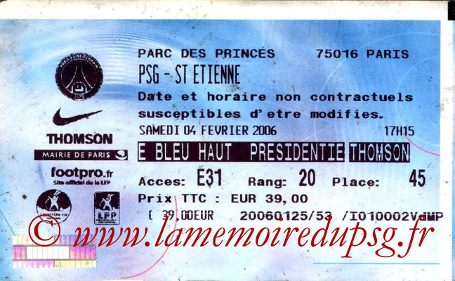 Tickets  PSG-Saint Etienne  2005-06