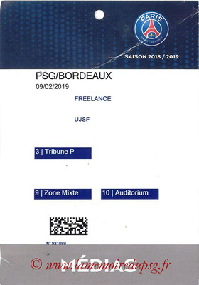 Tickets  PSG-Bordeaux  2018-19