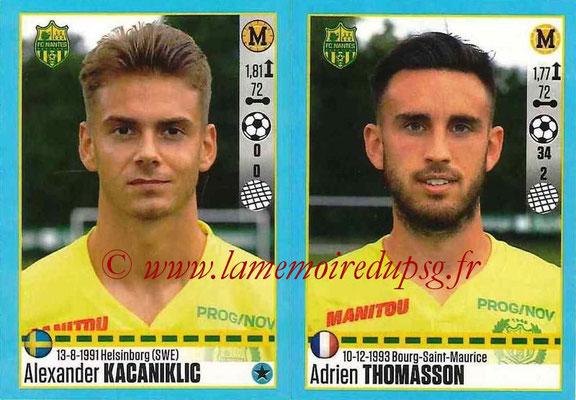 2016-17 - Panini Ligue 1 Stickers - N° 622 + 623 - Alexander KACANIKLIC + Adrien THOMASSON (Nantes)