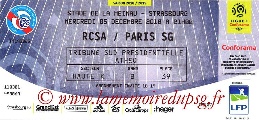 Ticket  Strasbourg-PSG  2018-19
