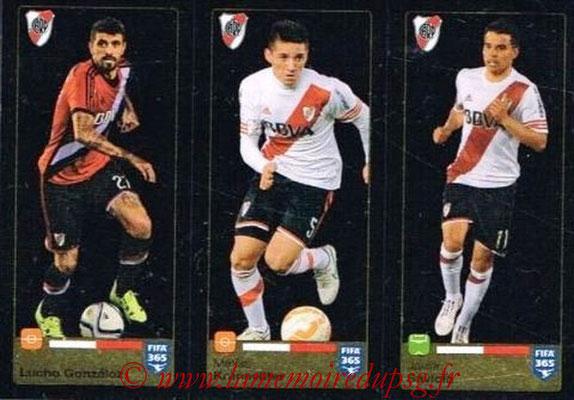 2015-16 - Panini FIFA 365 Stickers - N° 120-121 -122 - Lucho GONZALOZ + Mathias KRANEVITTERO + Javier SAVIOLA  (River Plate)