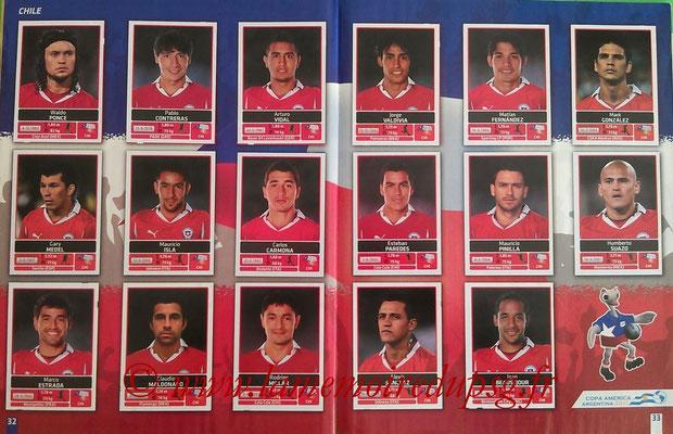 Panini Copa América Argentina 2011 - Pages 32 et 33 - Chili