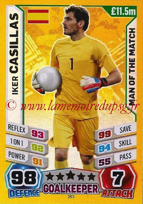 Topps Match Attax England 2014 - N° 263 - Iker CASILLAS (Espagne) (Man Of The Match)