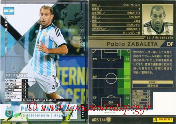 2013-14 - WCCF - N° ARS1 - Pablo ZABALETA (Argentine) (Argentine Superstars)