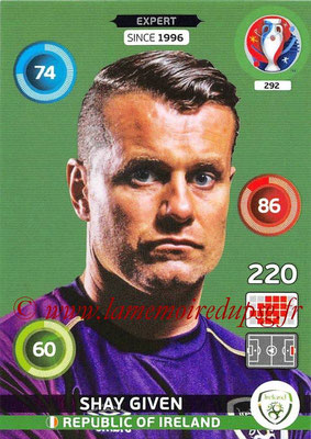 Panini Euro 2016 Cards - N° 292 - Shay GIVEN (République d Irlande) (Expert)
