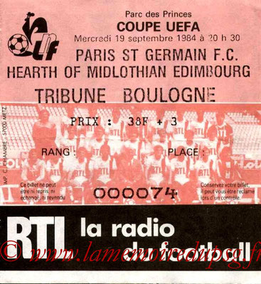 Ticket  PSG-Hearts of Midlothian  1984-85