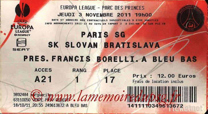 Tickets PSG-Slovan Bratislava  2011-12