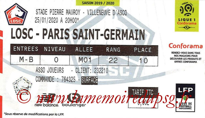 Ticket  Lille-PSG  2019-20