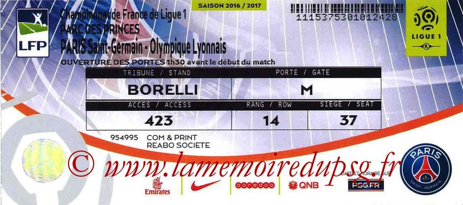 Tickets  PSG-Lyon  2016-17