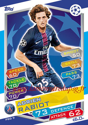 2016-17 - Topps UEFA Champions League Match Attax - N° PSG9 - Adrien RABIOT (Paris Saint-Germain)