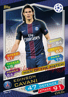 2016-17 - Topps UEFA Champions League Match Attax - N° MM21 - Edinson CAVANI (Paris Saint-Germain) (Man of the Match)