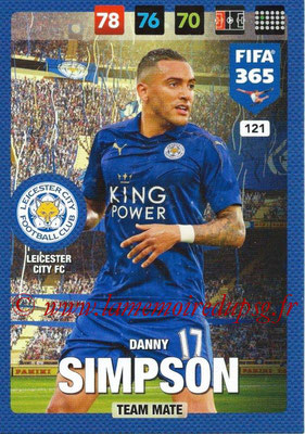 2016-17 - Panini Adrenalyn XL FIFA 365 - N° 121 - Danny SIMPSON (Leicester City FC)
