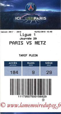 Tickets  PSG-Metz  2017-18