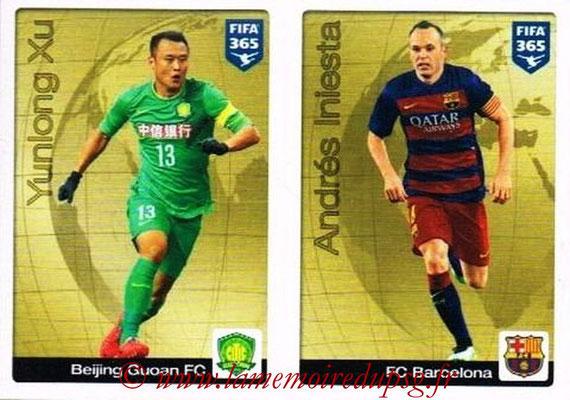 2015-16 - Panini FIFA 365 Stickers - N° 007-009 - Yunlong XU (Beijing Guon FC) + Andrés INIESTA (FC Barcelone) (Gold Sticker)