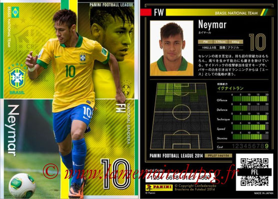 Panini Football League 2014 - PFL07 - N° 144 - NEYMAR (Brésil) (Bandera)