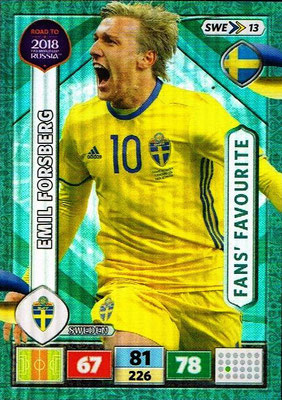2018 - Panini Road to FIFA World Cup Russia Adrenalyn XL - N° SWE13 - Emil FORSBERG (Suède) (Fans' Favourite)