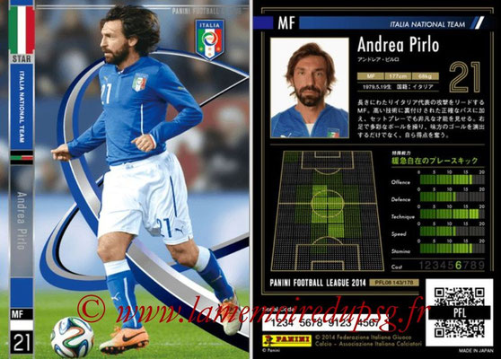 Panini Football League 2014 - PFL08 - N° 143 - Andrea PIRLO (Italie) (Star)
