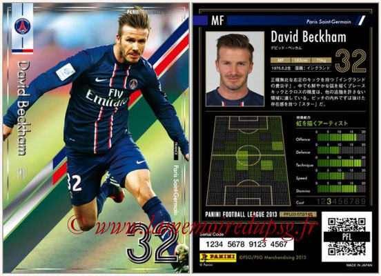 Panini Football League 2013 - PFL03 - N° 072 - David Beckham (Paris Saint-Germain)