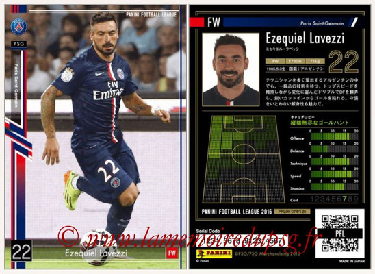 Panini Football League 2015 - PFL09 - N° 074 - Ezequiel LAVEZZI (Paris Saint-Germain)