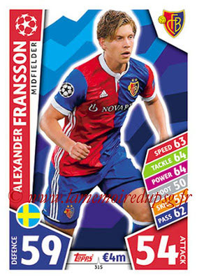 2017-18 - Topps UEFA Champions League Match Attax - N° 315 - Alexander FRANSSON (FC Bâle)