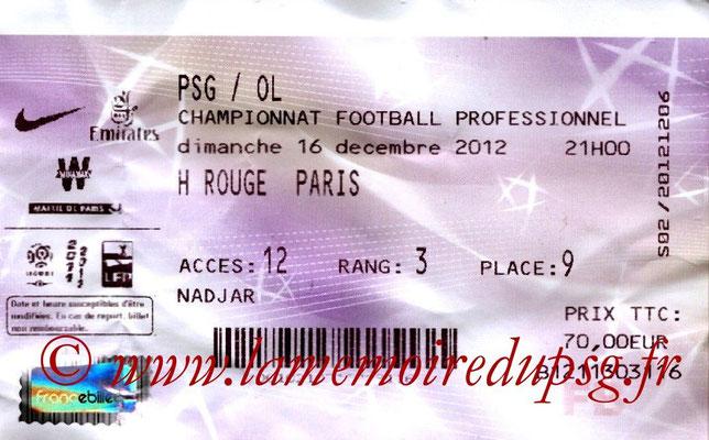 Tickets  PSG-Lyon  2012-13