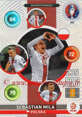 Panini Euro 2016 Cards - N° 260 - Sebastian MILA (Pologne) (Inventiveness)