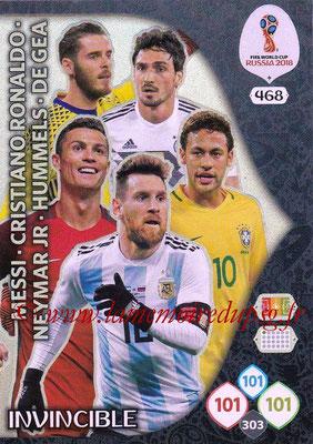 2018 - Panini FIFA World Cup Russia Adrenalyn XL - N° 468 - MESSI + RONALDO + NEYMAR JR + HUMMELS + DE GEA (Invincible)