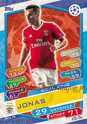 2016-17 - Topps UEFA Champions League Match Attax - N° BEN15 - JONAS (SL Benfica) (Goal King)