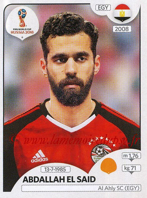 2018 - Panini FIFA World Cup Russia Stickers - N° 087 - Abdallah SAID (Egypte)