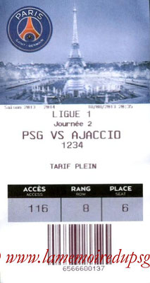 Tickets  PSG-Ajaccio  2013-14