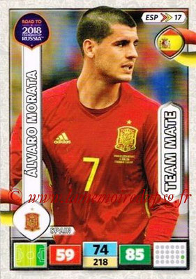 2018 - Panini Road to FIFA World Cup Russia Adrenalyn XL - N° ESP17 - Alvaro MORATA (Espagne)