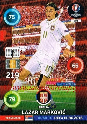 Panini Road to Euro 2016 Cards - N° 203 - Lazar MARKOVIC (Serbie)