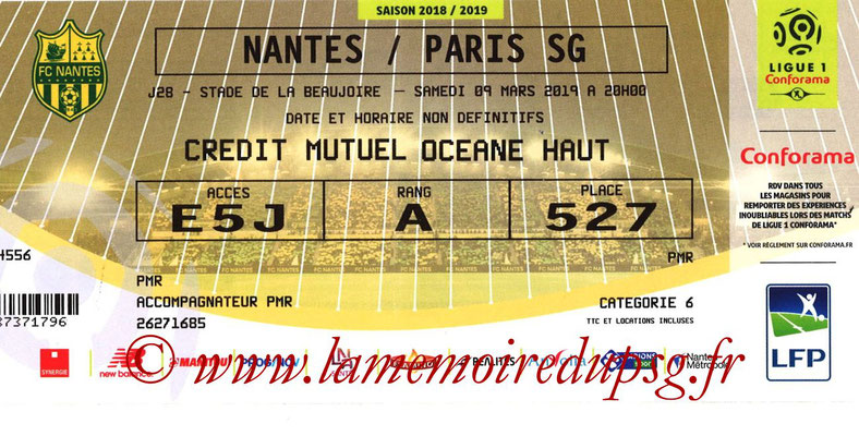 Ticket  Nantes-PSG  2018-19