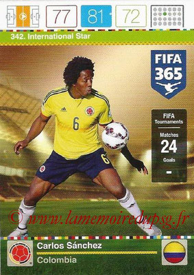 2015-16 - Panini Adrenalyn XL FIFA 365 - N° 342 - Carlos SANCHEZ (Colombie) (International Star)