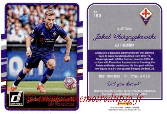 2016 - Panini Donruss Cards - N° 190 - Jakub BLASZCZYKOWSKI (ACF Fiorentina)