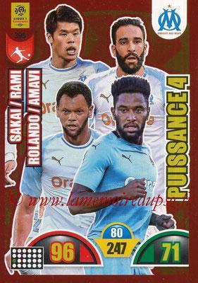 2018-19 - Panini Adrenalyn XL Ligue 1 - N° 398 - Hiroki SAKAI + Adil RAMI + ROLANDO + Jordan AMAVI (Marseille) (Puissance 4)
