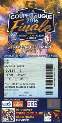Ticket  PSG-Lille  2015-16